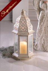 Small Distressed White Lantern, Shabby Candle Lantern, Vintage White Lantern