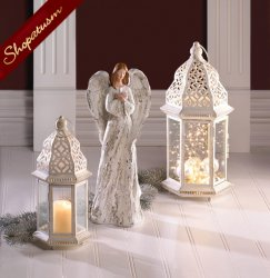24 Large Distressed White Lanterns, Shabby Candle Lantern, Vintage White Lantern