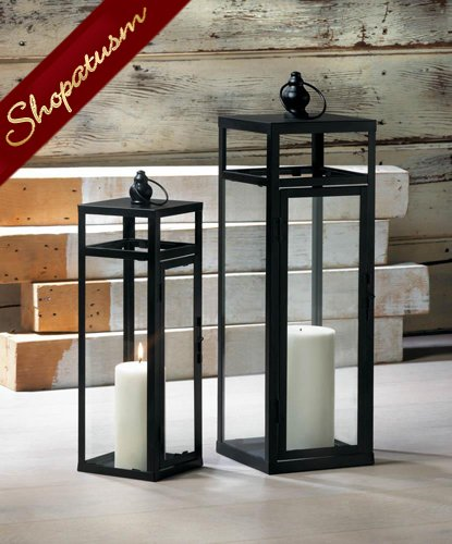 Med Black Dramatic Centerpiece, Geometry Lantern, Wedding Centerpiece