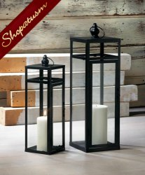 12 Med Black Geometry Lanterns, Dramatic Centerpiece, Wedding Centerpiece