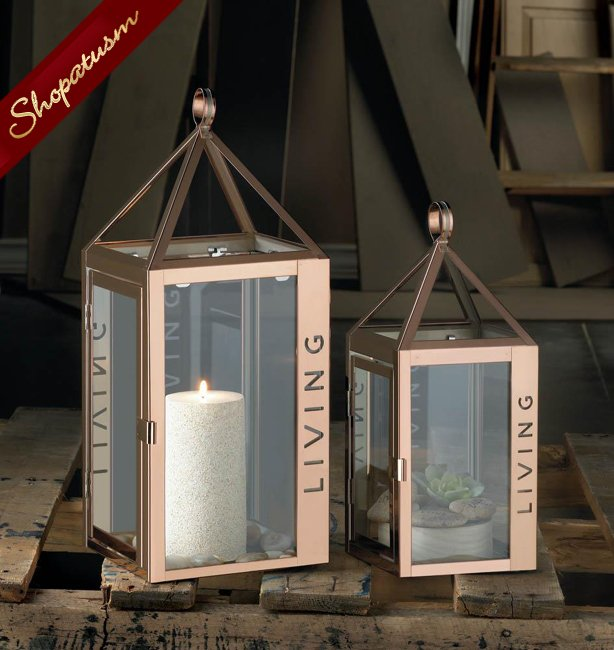 36 Wholesale Large Rose Gold Stainless Steel Lantern, Living Table Centerpiece