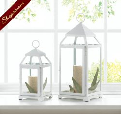 12 White Garden Lanterns, Large White Lantern, Contemporary Centerpiece