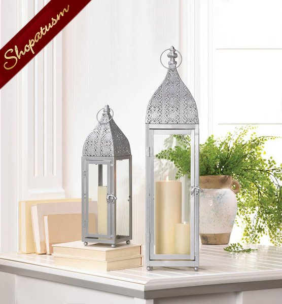 Large Silver Moroccan Lantern Wedding Centerpiece