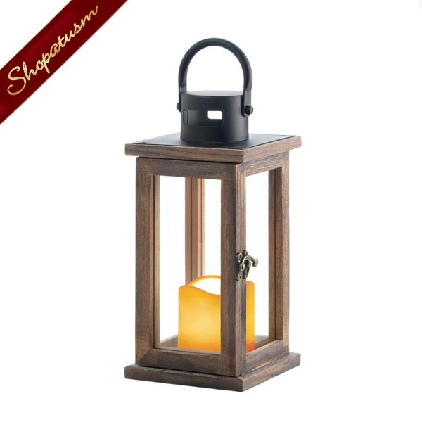 Image 1 of 12 Wholesale Wood Lanterns, Cottage Chic Lanterns, Rustic Wood Centerpieces