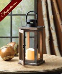 Lodge Style Wood Lantern, Cottage Chic Lantern, Rustic Wood Centerpiece