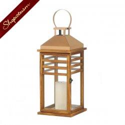 12 Large Pine Wood Lanterns, Rose Gold Top Lanterns, Wood Centerpieces