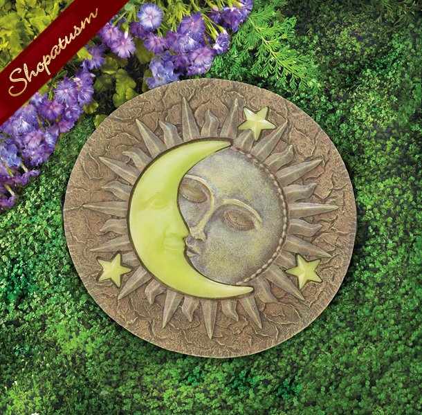 Sun and Moon Garden Stepping Stone, Glow in The Dark Stepping Stone, Yard Art