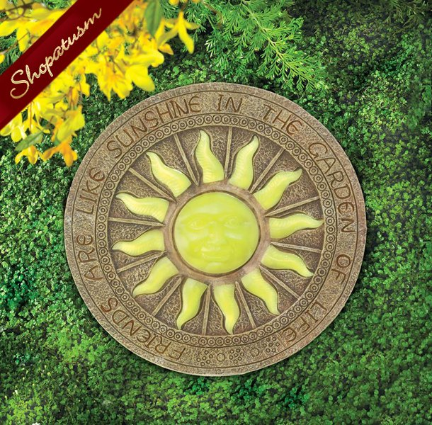 Glowing Bursting Sun Stepping Stone, Glow in The Dark Stepping Stone, Yard Art
