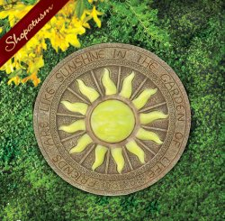 Glowing Bursting Sun Stepping Stone Glow in The Dark Yard Art