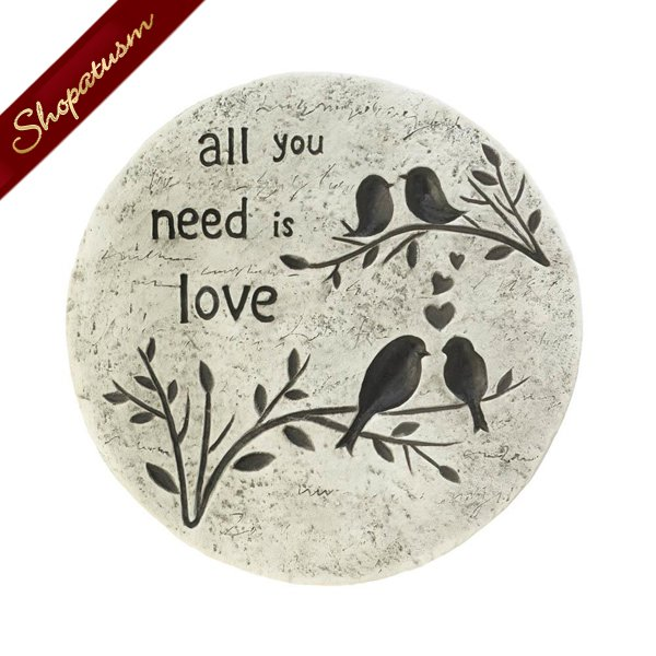 All You Need Is Love Stepping Stone, Cement Garden Stone, Yard Art