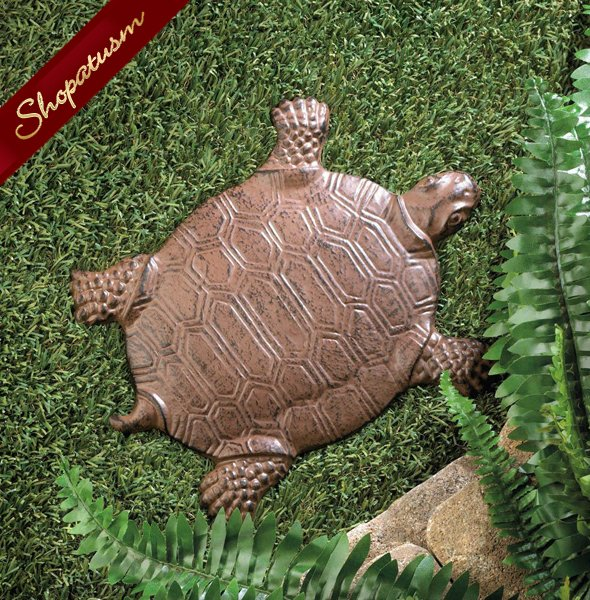Cast Iron Turtle Stepping Stone, Garden Stepping Stone, Yard Art