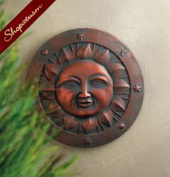 Happy Sun Garden Stone Cement Wall Plaque Yard Art