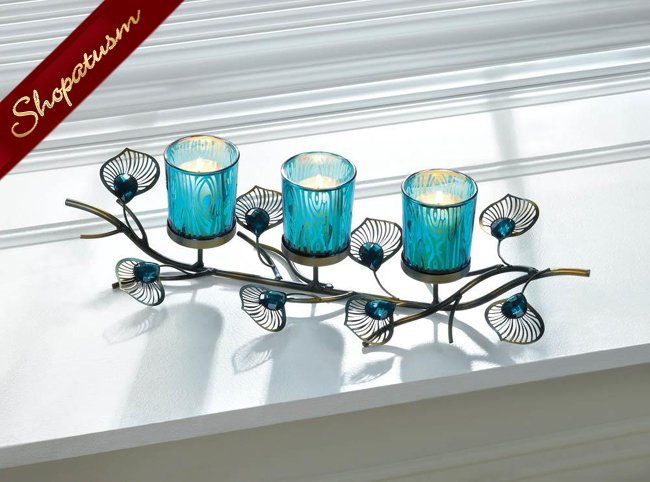60 Wedding Candle Holders, Peacock Turquoise Blue Candle Holders