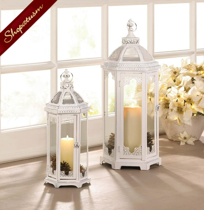 48 Distressed White Centerpieces, Large White Lanterns, Grecian Style Lantern