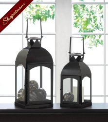12 Large Black Wedding Centerpieces, Black Domed Lanterns, Domed Candle Lanterns