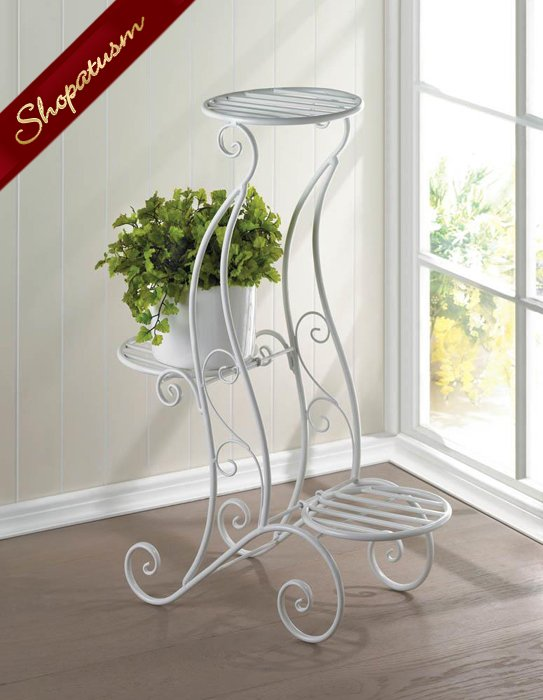 White Plant Stand 3 Tier, 3 Shelves Stand For Plants, Curlicue Design