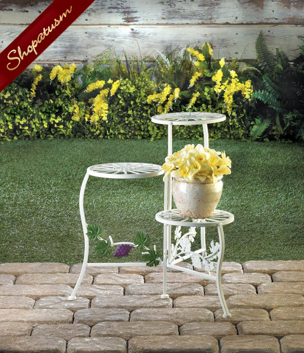 English Country Plant Stand, White 3 Tier Iron Garden Plant Stand