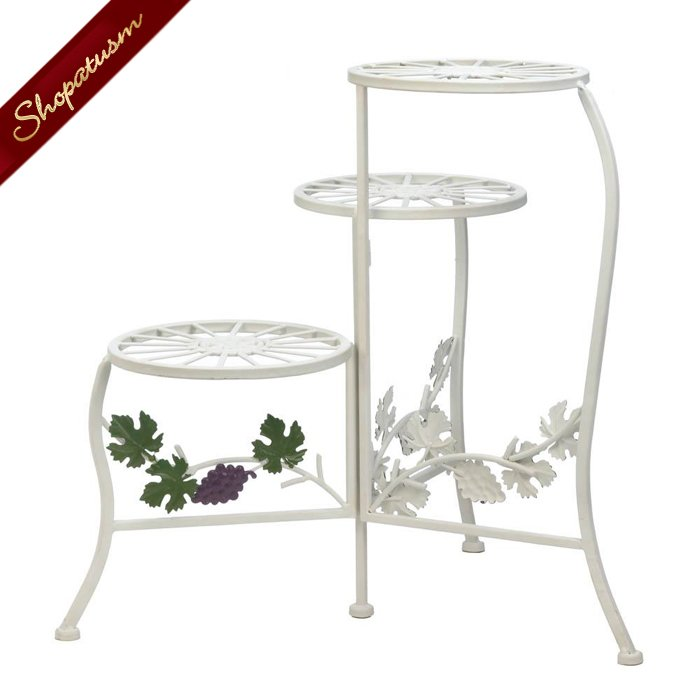 Image 1 of English Country Plant Stand, White 3 Tier Iron Garden Plant Stand