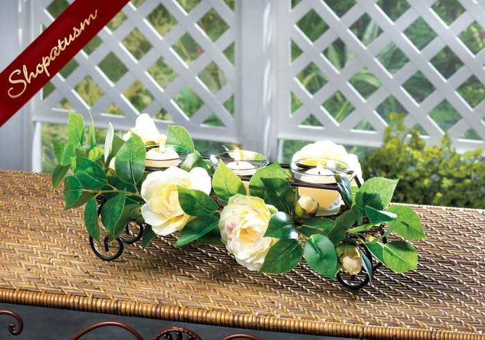 24 White Floral Votive Glass Cups Candle Holder Blossoms and Vines Black Metal