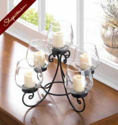 Elegant Candle Centerpiece Scroll Design Black Metal with Glass Cups