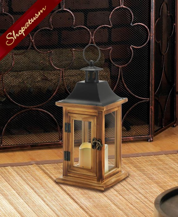 24 Wedding Centerpieces Classical Square Lanterns With LED Candle Pine Wood