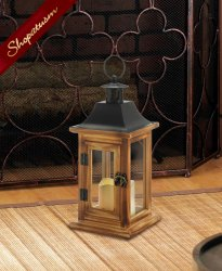 12 Classical Square Lanterns With LED Candle Centerpiece Pine Wood