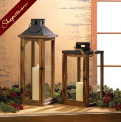 12 Bulk Lot Large Dramatic Style Pine Wood Lantern With Metal Top Rustic