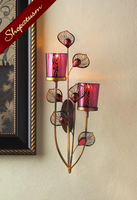 Elegant Pink Peacock Faceted Jewels Decorative Wall Sconce
