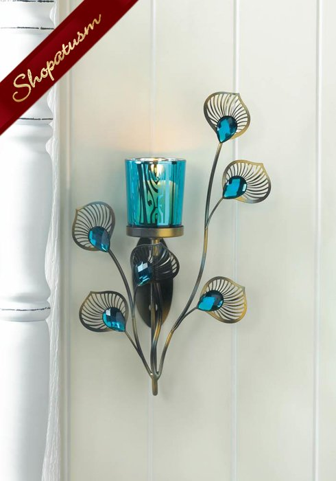 Turquoise Peacock Wall Sconce Faceted Jewels Metallic Plumes