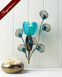 Turquoise Peacock Blossom Wall Sconce Faceted Jewels Metal Plumes