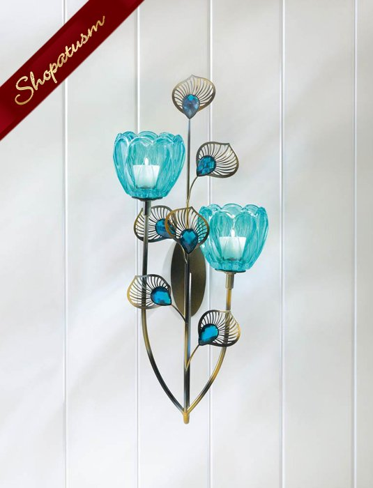 Turquoise Peacock Blossom Duo Glass Cups Wall Sconce
