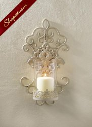 Delicate Ivory Lace Scrollwork Wall Sconce Glass Candle Cup