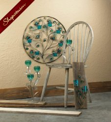 Turquoise Peacock Plumes Circular Wall Sconce Glass Cups