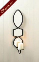Elegant Mirrored Candle Wall Sconce for use with Pilar Candle