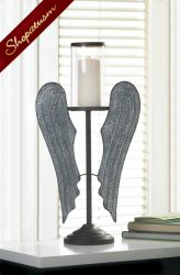 Angel Wings Rustic Farmhouse Hurricane Candle Holder