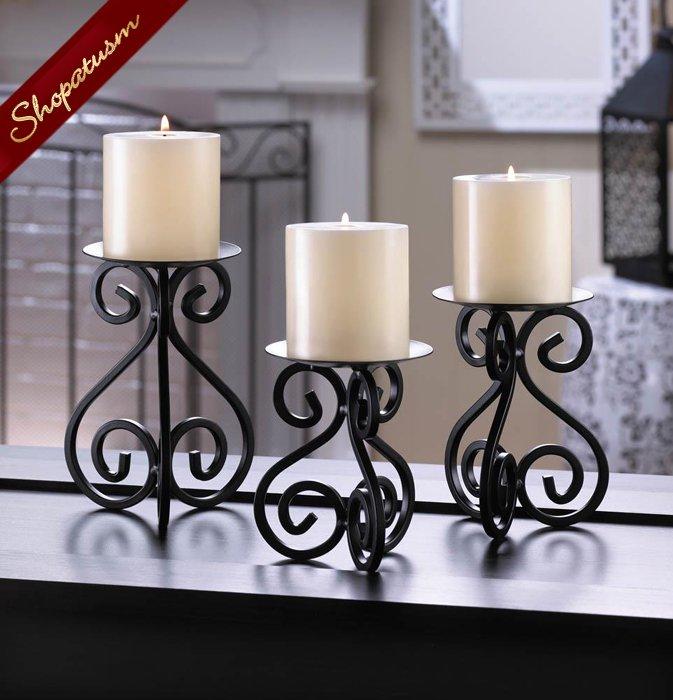 48 x 3 Candle Stands Black Scrollwork Wholesale Centerpieces Trio Set Bulk Lot