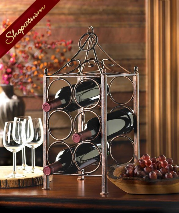 Wine Rack Rustic Metal Antique Finish Circle Corral Holds 6 Bottles