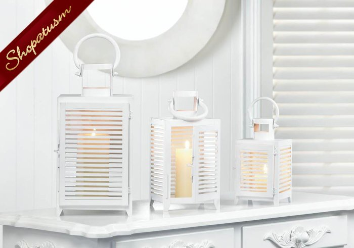 12 Horizon White Lanterns Large Contemporary Design Wedding Centerpieces