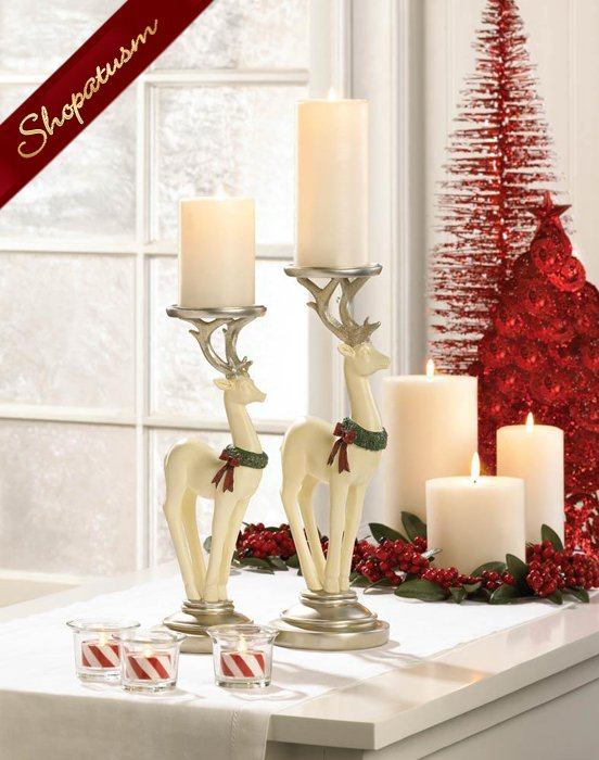 Large White Reindeer Candle Holder Christmas Centerpiece Polyresin
