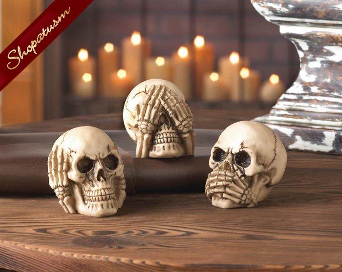 See Hear Speak No Evil Decorative Skulls Polyresin