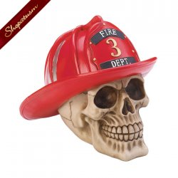 Firefighter Skull Fire Department 3 Polyresin Decorative Halloween Decor