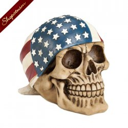 Skull Figurine American Flag Bandana Halloween Decor Centerpiece