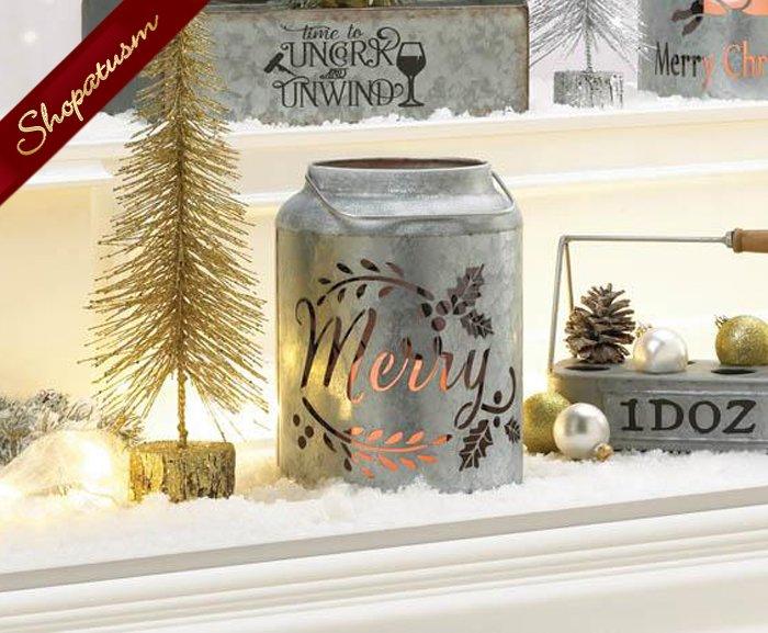 Merry Galvanized Steel LED Flameless Candle Lantern Christmas Decor
