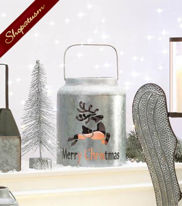 Merry Christmas Reindeer Galvanized Metal LED Flamless Candle Lantern