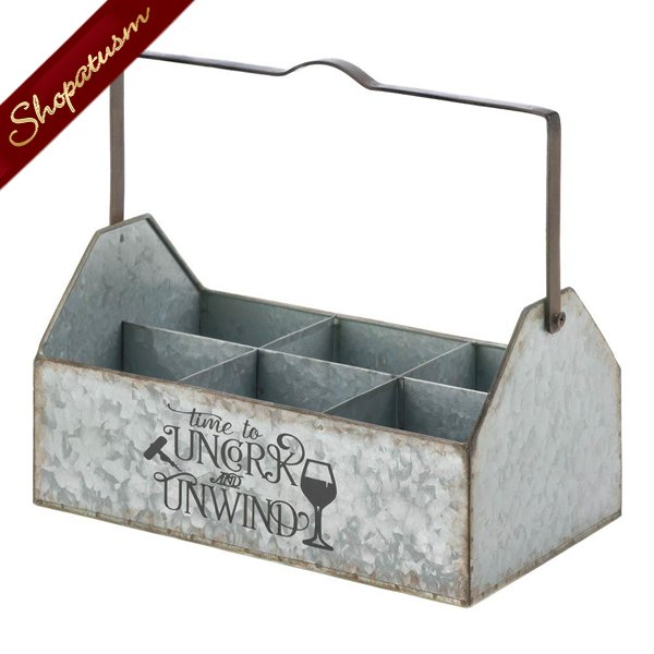 Image 1 of Wine Caddy Galvanized Metal Holds 6 Bottles