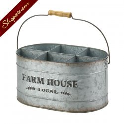 Rustic Wine Bucket Galvanized Metal Farm House Decor Holds 6 Bottles
