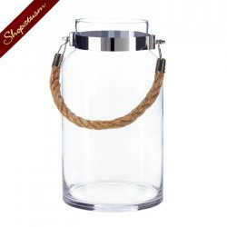 12 Bulk Lot Hanging Glass Hurricane Lantern Large Table Centerpiece Rope Handle