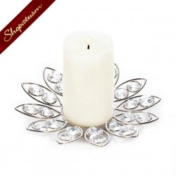 Crystal Bling Silver Flower Candle Holder Faceted Gems Wedding Centerpiece