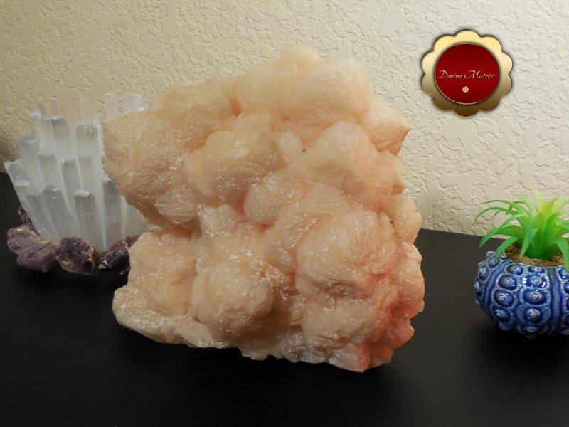 Image 2 of Large Peach Stilbite Cluster Psychic Awareness Heart Chakra 7 lb Slab
