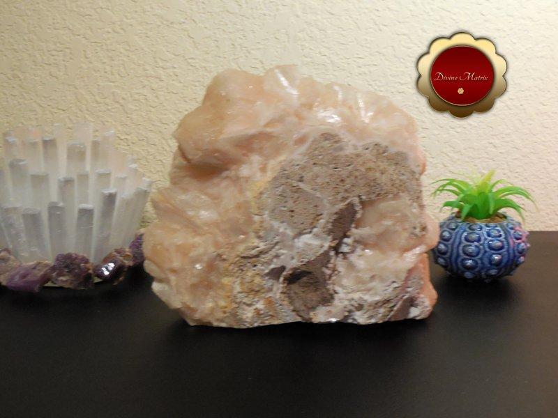 Image 4 of Large Peach Stilbite Cluster Psychic Awareness Heart Chakra 7 lb Slab